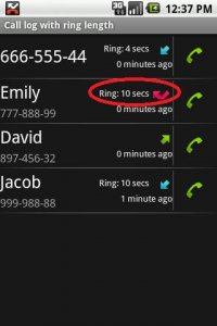Call log with ring length